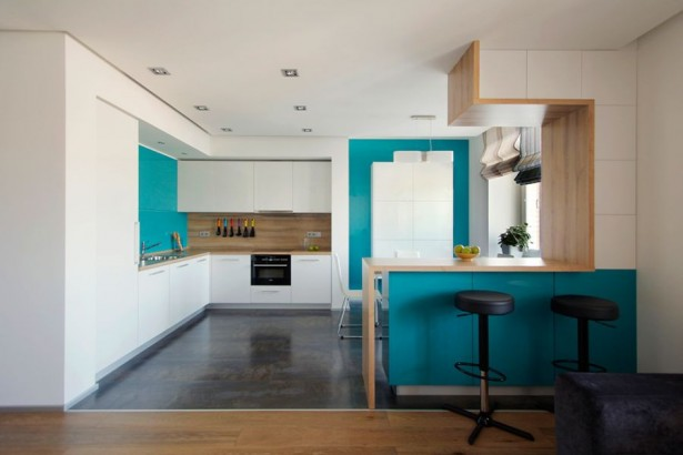 Modern-Kitchen-In-Turquoise-And-White-615x410