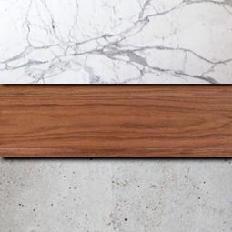 Marmo e legno: particolare dei materiali usati