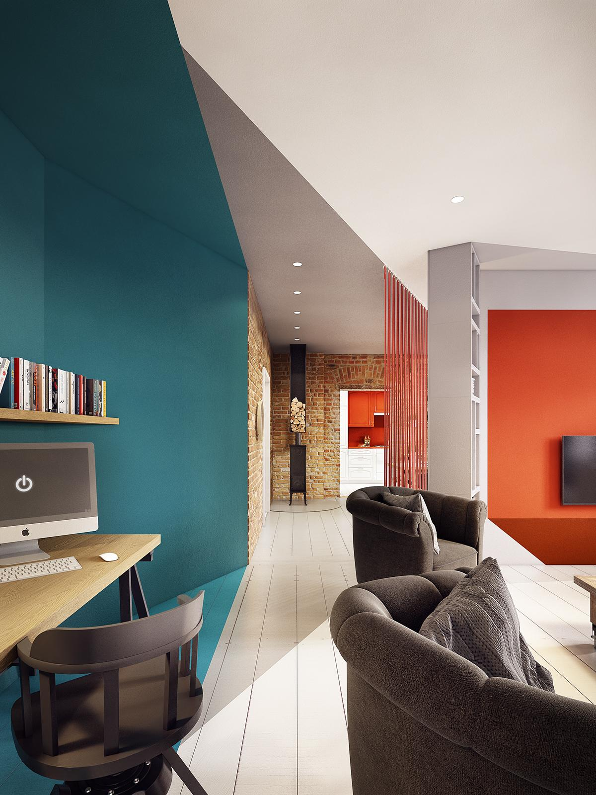 arredamento rustico interior design : Salotto Rustico Con Muro In Mattoni E Stufa A Legna Interior Design: E ...